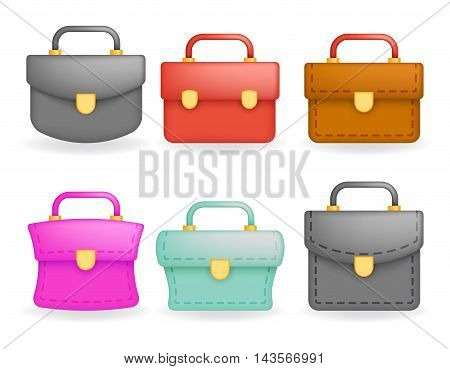 Schoolbag Realistic icons set education symbol isolated design vector illustration