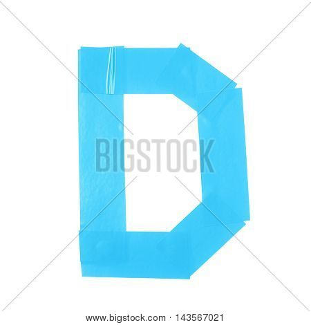 Letter D symbol made of insulating tape pieces, isolated over the white background