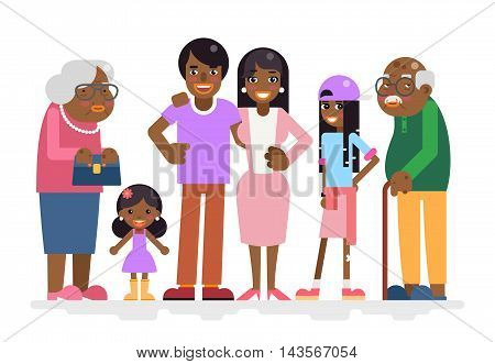 African Family Characters Child Teen Adult Icon Flat Design Vector Illustration