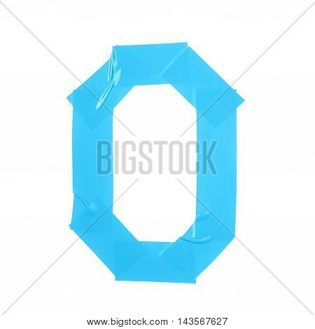 Letter O symbol made of insulating tape pieces, isolated over the white background