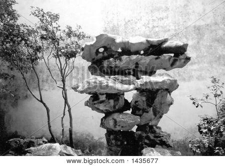 Rocks In Chinese Garden Near Shanghai
