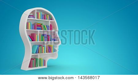 Colorful books in human face in bookshelves against blue vignette background