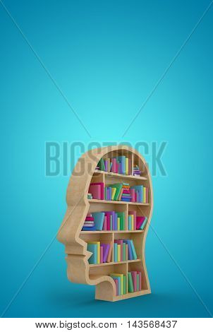 Colorful books in human face bookshelves against blue vignette background