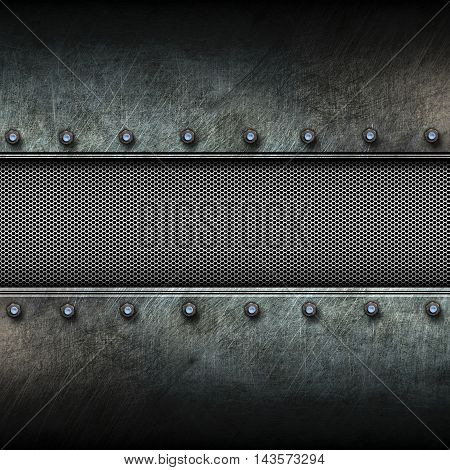 grunge metal background and mesh. 3d illustration. background and texture.