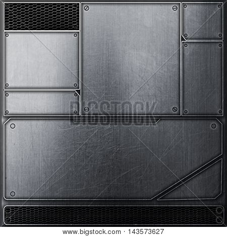 scifi wall. metal wall and black mesh. metal background and texture 3d illustration. technology concept.