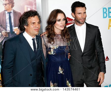 NEW YORK-JUNE 25: (L-R) Actors Mark Ruffalo, Keira Knightly, and musician Adam Levine of Maroon 5 attend the New York premiere of