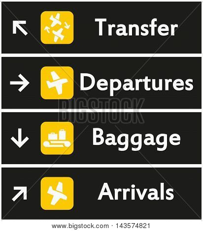 Vector Airport Signs on black background. Airport icon