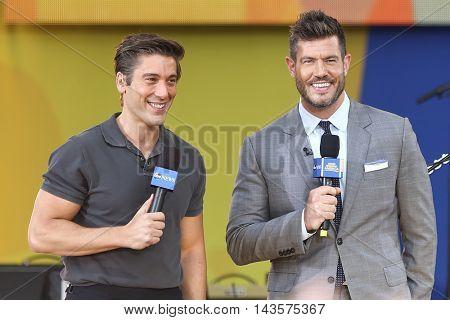 NEW YORK-AUG 12: David Muir (L) and Jesse Palmer on ABC's