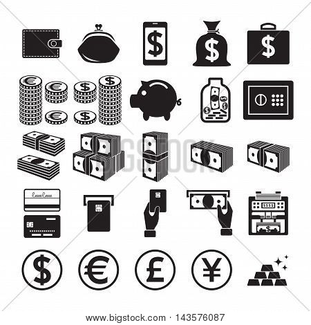 Set of money icons isolated on a white background. Vector illustration