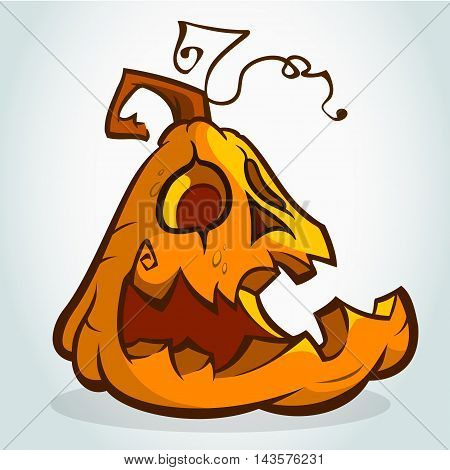 Cartoon happy halloween pumpkin Jack O Lantern head with smiling expression. Vector illustration isolated on white background