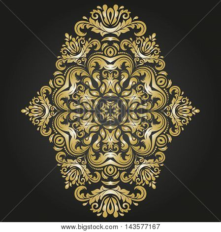 Oriental vector black and golden pattern with arabesques and floral elements. Traditional classic ornament