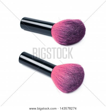 Kabuki mushroom makeup brush isolated over the white background, set of two different foreshortenings