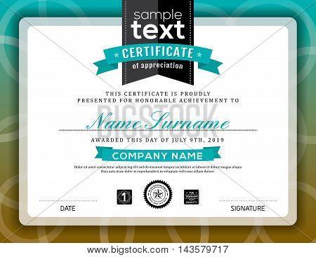Simple certificate of appreciation border background frame design template