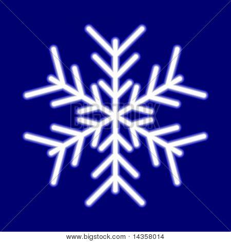 Luminous snowflake on blue. Vector illustration.