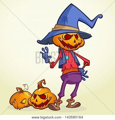 Cartoon pumpkin scarecrow. Halloween vector illustration of a happy scarecrow waving. Vector isolated on white