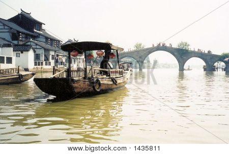 Chinese Junk Boat Suzhou Bridge Venice East