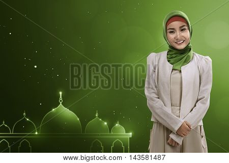 Young Asian Muslim Woman Give Smile