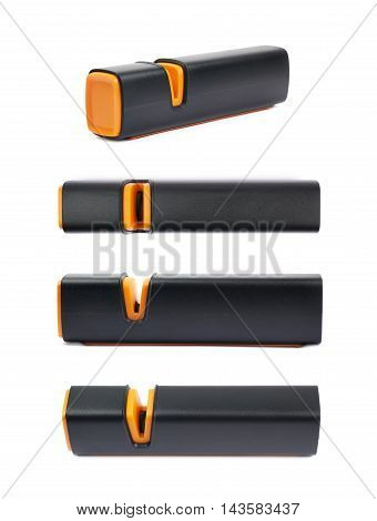 Plastic black knife sharpener isolated over the white background, set of four different foreshortenings