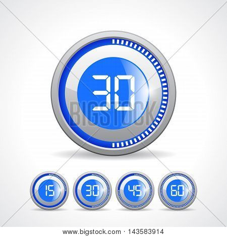 Timers 15 30 45 60 min vector illustration isolated on white background poster