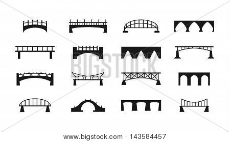 Bridges vector icons set. Black silhouette of the bridge structure, river and railway illustration