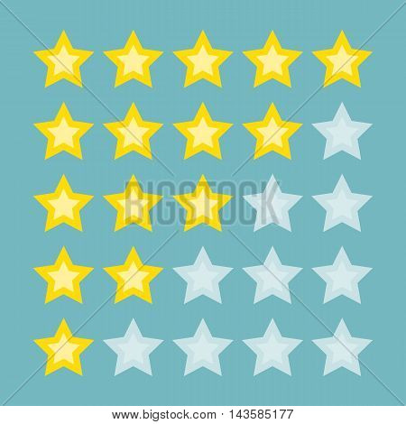 Yellow rating stars. From bad to excellent. Making reputation and inviting customers.