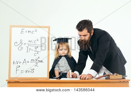 Man Professor Writing With Child