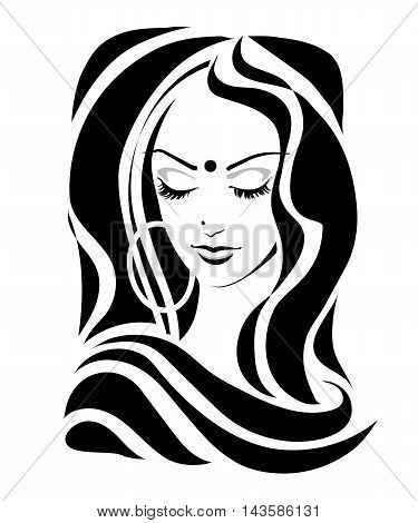 Modest Shy Indian girl with downcast eyes Tilak dupatta in a retro style. Vector illustration.