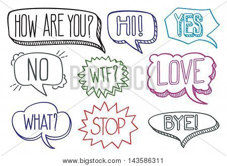 Vintage hand drawn speech bubbles with dialog words hi bye and stop. Vector illustration collection