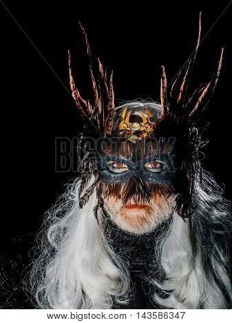 Male Bearded Face In Mask