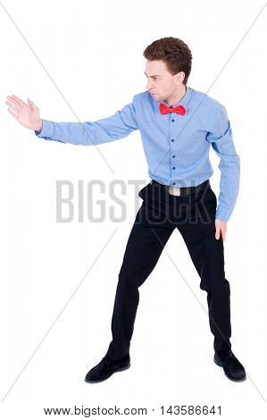 Referee suit and tie butterfly separates boxers. Isolated over white background. the referee gives the command to continue the fight.