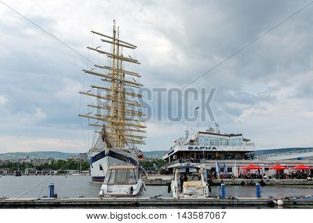 VARNA BULGARIA - 22th May 2016: Five-masted Royal Clippers sailing ship owned by Star Clippers at the passenger terminal docks of the harbor.
