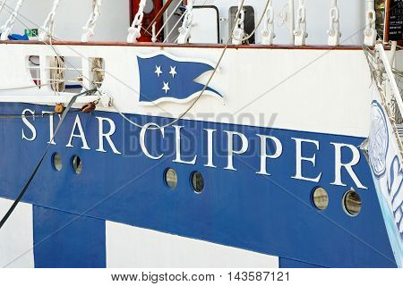 VARNA BULGARIA - 22th May 2016: Royal Clippers sailing ship owned by Star Clippers at the passenger terminal docks of the harbor.