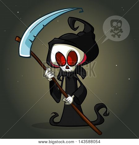 Grim reaper cartoon character with scythe isolated on a white background. Cute death character in black hood