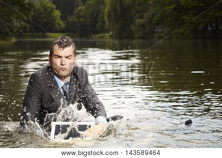 Businessman deep in water became very crazy