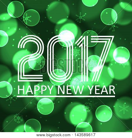 Happy New Year 2017 On Green Bokeh Circle Background Eps10