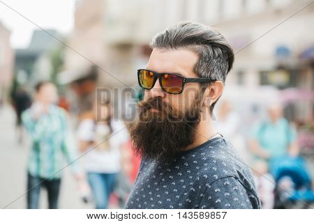 Handsome Bearded Man In Sun Glasses