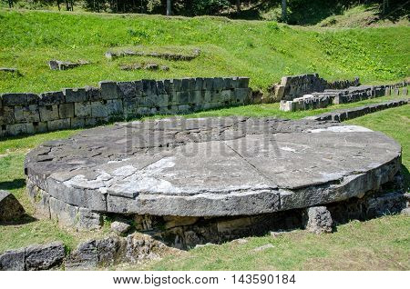 Gigantic stone from the ruins of Dacian fortress Sarmisegetusa Regia