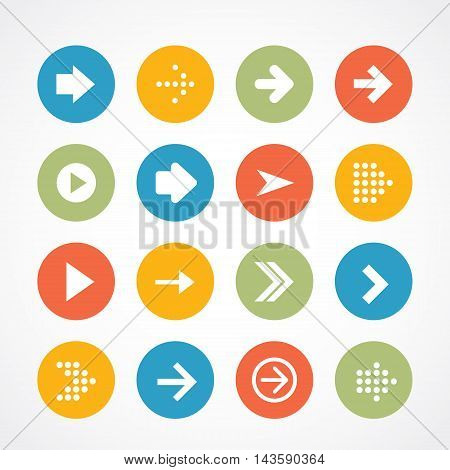 Arrow sign icon set. Simple circle shape internet button on gray background. Contemporary modern style.