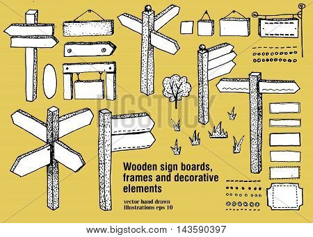 Wooden signs frames boards. Vector icon set Hand drawn