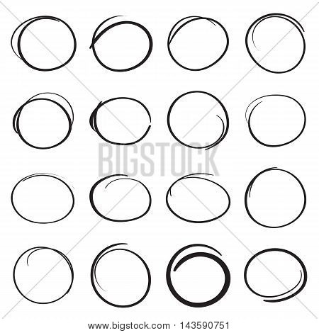Hand drawn scribble circles to highlight parts of a text. Design elements. Vector illustration