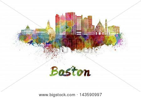 Boston skyline in watercolor splatters with clipping path