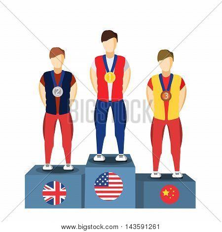 Athletics Winner Podium Athletes. Sports Athletics Image. Brazil Summer Games Athlete Podium. olympics Brasil 2016 Icon.