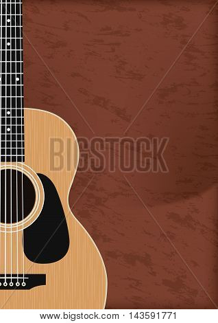 Guitar, Musical Instrument Design Realistic Style And A4 Background Poster Music For Commercial Vect