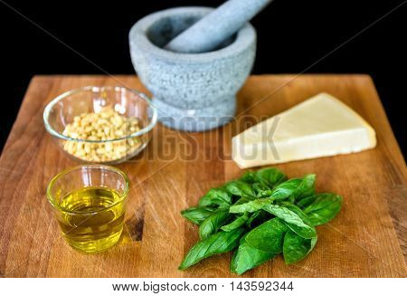 Making Of Homemade Pesto Genovese With All Ingredients.