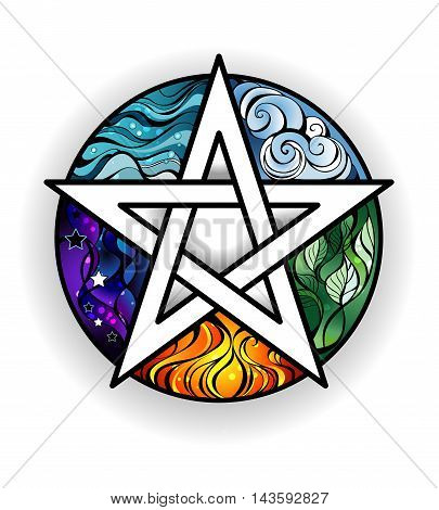 artistically painted magical pentagram with elements of water earth air fire astral on a white background. Tattoo style. Magic symbol.