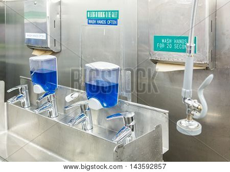 Stainless Steel Hand Washing Area of Commercial Kitchen