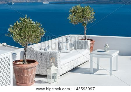 Beautiful terrace over Santorini with sea view - Greece