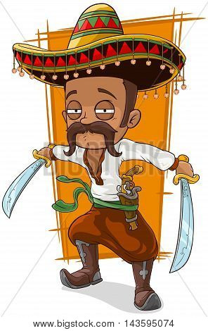 A vector illustration of cartoon funny mexican bandit with pistol