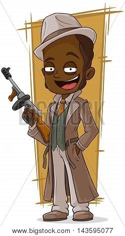 A vector illustration of cartoon gangster with tommy-gun