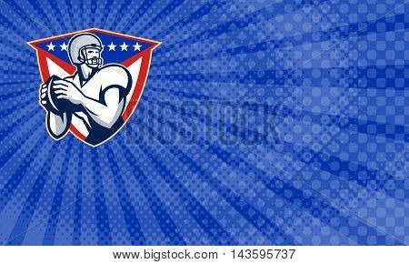Business card showing Illustration of an american football gridiron quarterback player throwing ball facing side set inside crest shield with stars and stripes flag done in retro style.